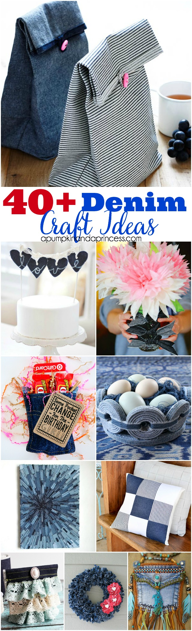 40 creative denim ideas a pumpkin and a princess for Denim craft projects