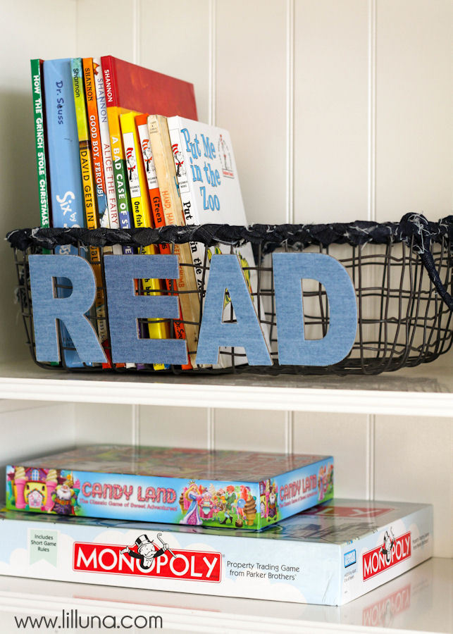 denim basket book shelf