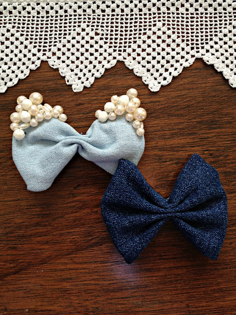 denim bows