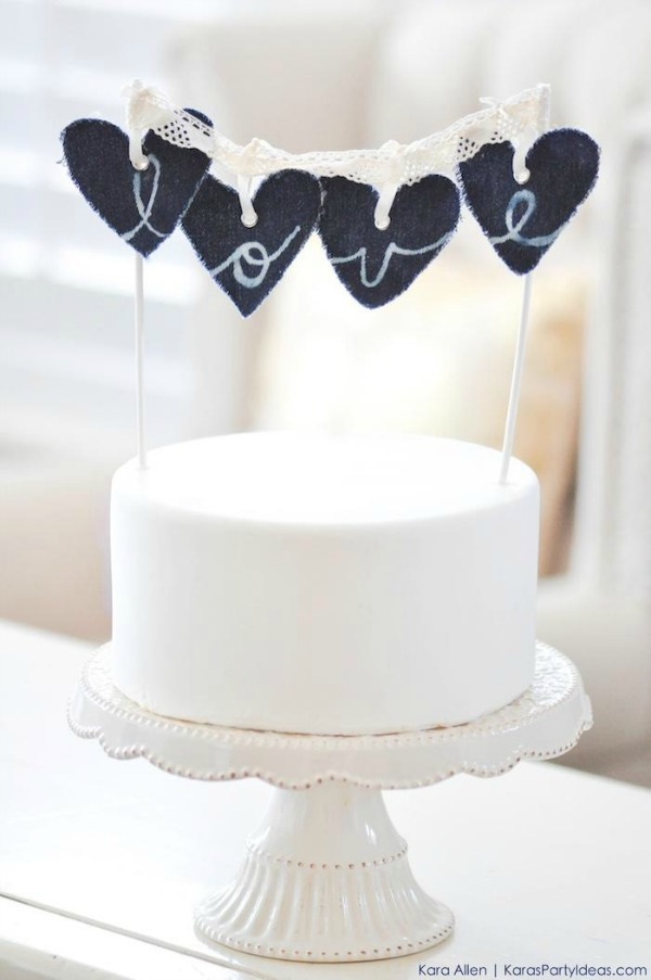 denim heart banner cake topper