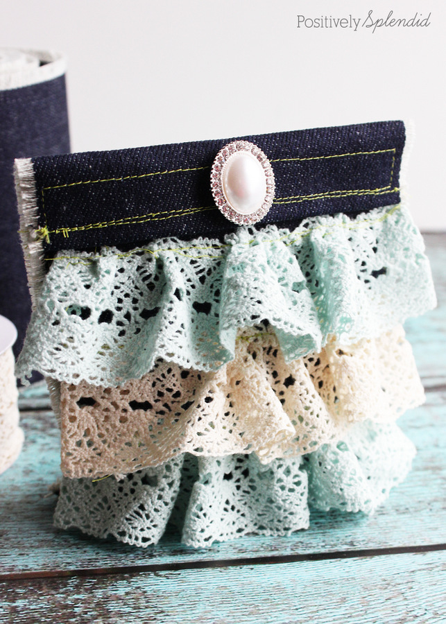 denim lace pouch