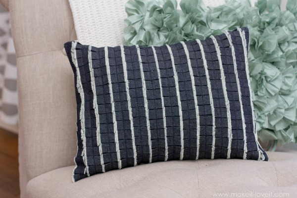 denim ruffle pillow