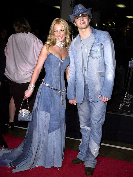 justine britney denim outfit