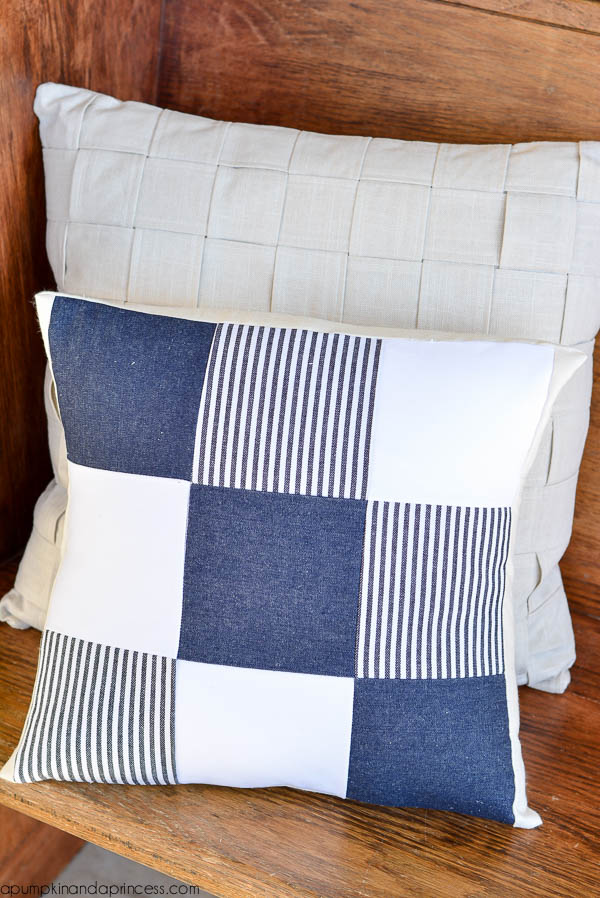 nautical denim pillow
