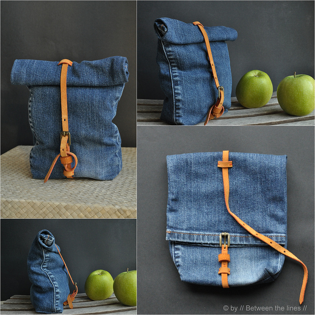 recycled jeans sack bag