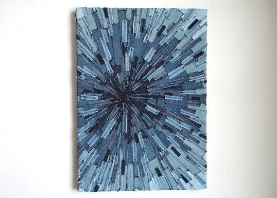 recycled jeans wall decor
