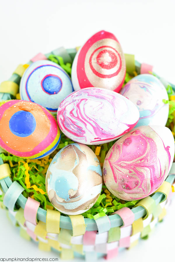 DIY Nail Polish Marbled Eggs