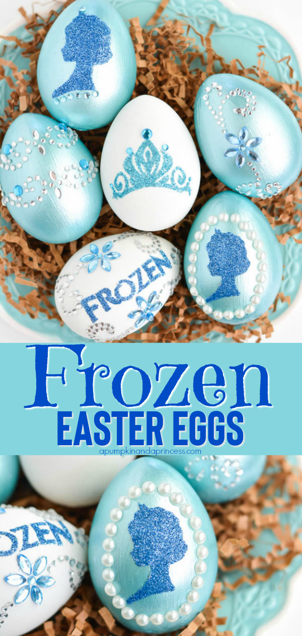 DIY Disney Frozen Easter Eggs - how to make glitter decorated eggs inspired by Elsa