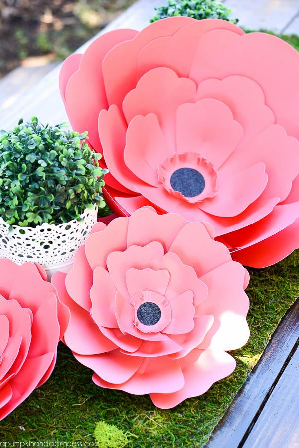Paper flower centerpiece a pumpkin and princess