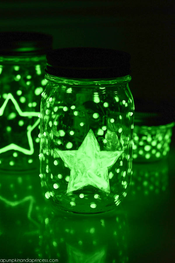 Glow In The Dark Mason Jars A Pumpkin And A Princess
