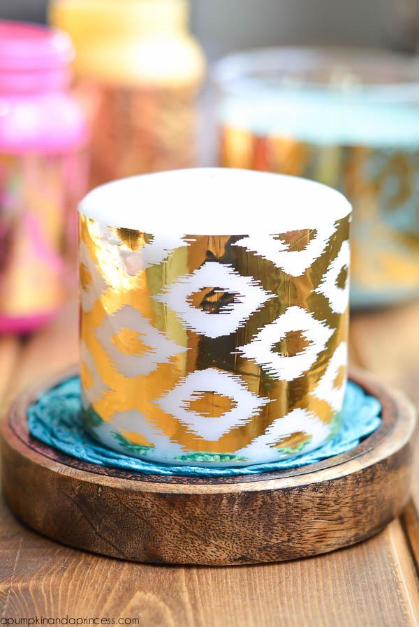 DIY Gold Foil Candle Wraps