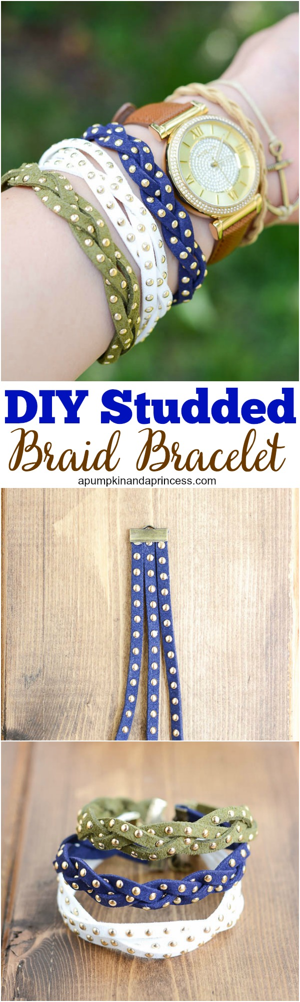 DIY Studded Braid Bracelet