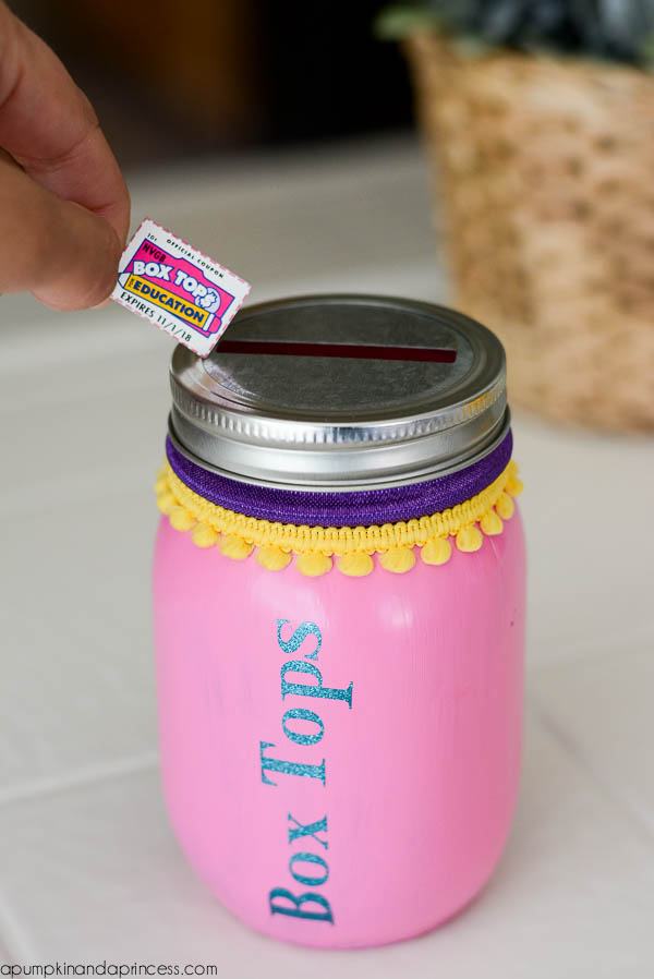 Mason Jar Box Tops piggy bank