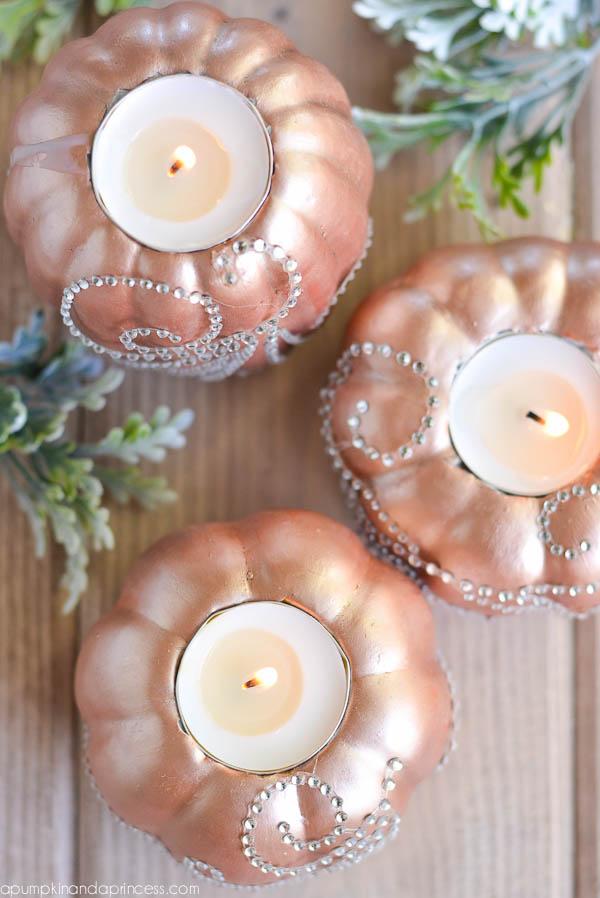 Rose Gold Pumpkin Candles