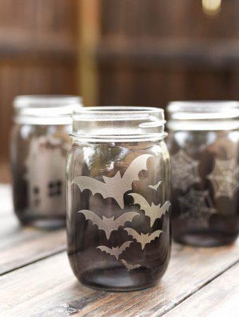 Halloween Etched Glass Mason Jar Luminaries