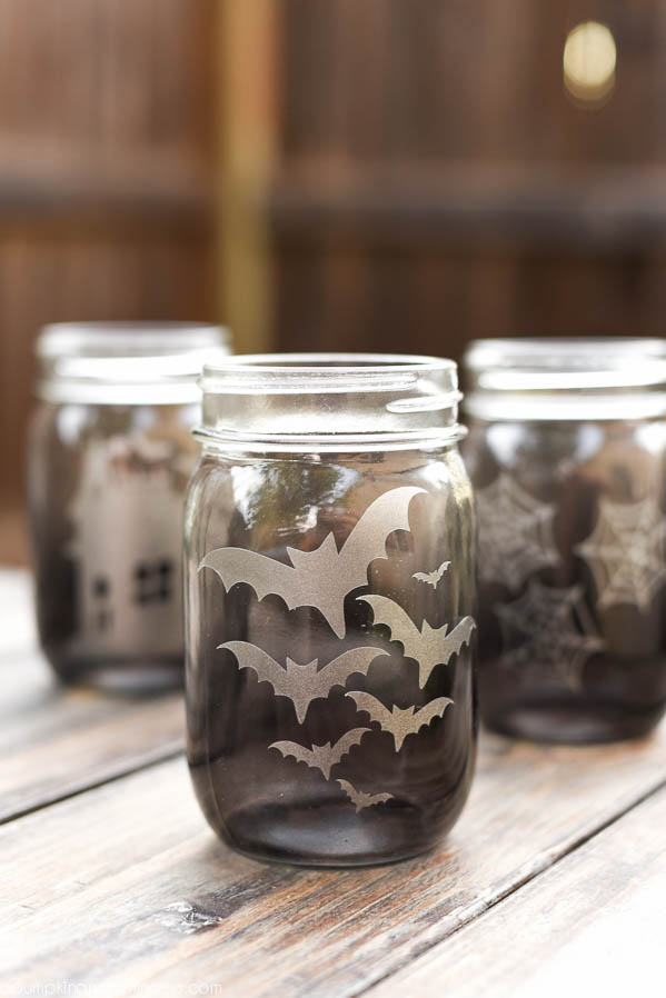 Halloween Etched Glass Mason Jar Luminaries