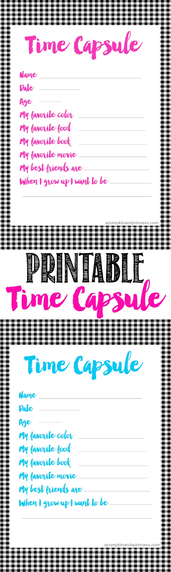 graphic about Time Capsule Printable referred to as Period Capsule Printable for Young children - A Pumpkin And A Princess