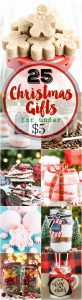 25 Handmade Christmas Gifts Under $5. Easy handmade gifts to give for Christmas - Peppermint bark, sugar scrubs, bath bombs, mason jar gifts and more!