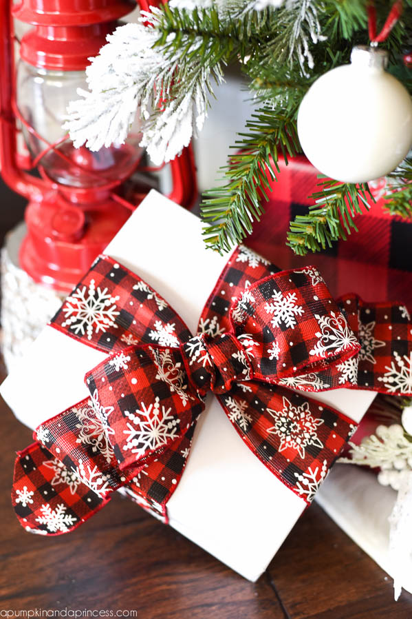 flocked buffalo plaid christmas tree buffalo check gift wrap - Buffalo Plaid Christmas Decor