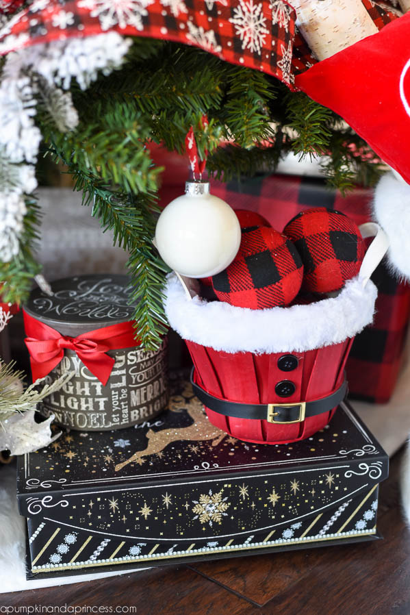 cabin christmas tree christmas gift wrap buffalo check - Red And Black Plaid Christmas Decor