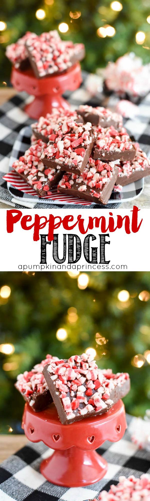Peppermint Fudge Recipe - easy 5-ingredient peppermint fudge recipe.
