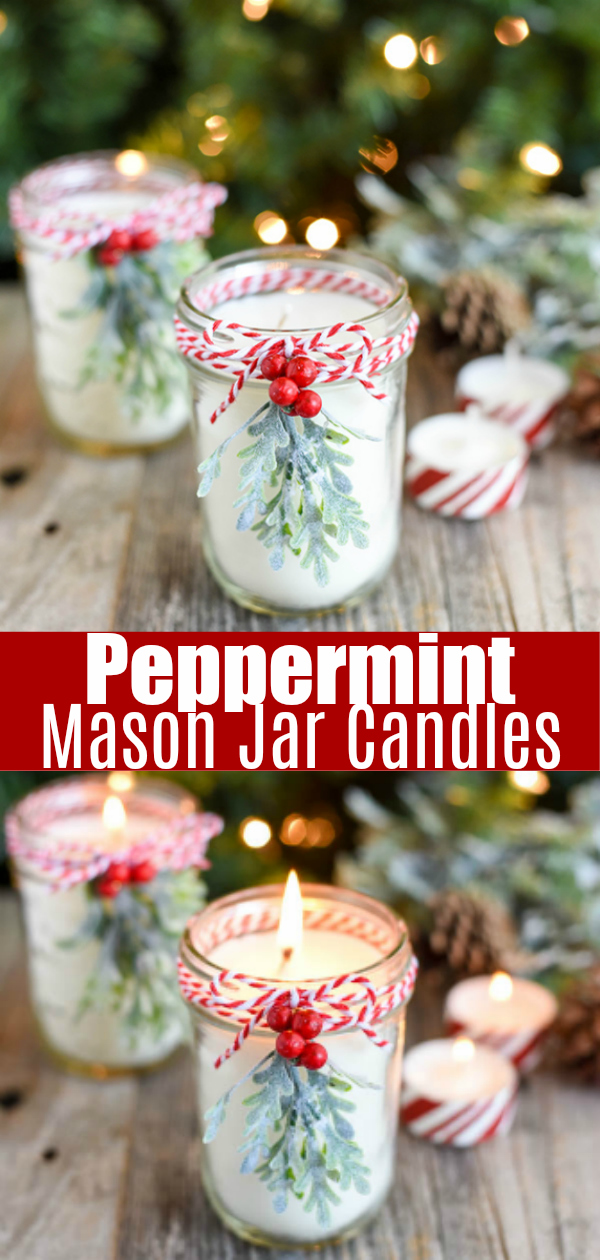 DIY Peppermint Candles - how to make soy candles in a mason jar. #peppermint #mason #jar #candlemaking