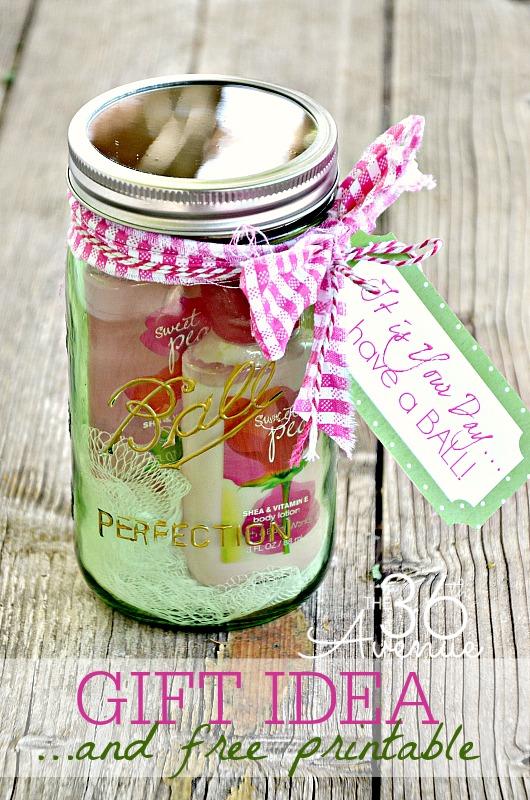 green mason jar gift