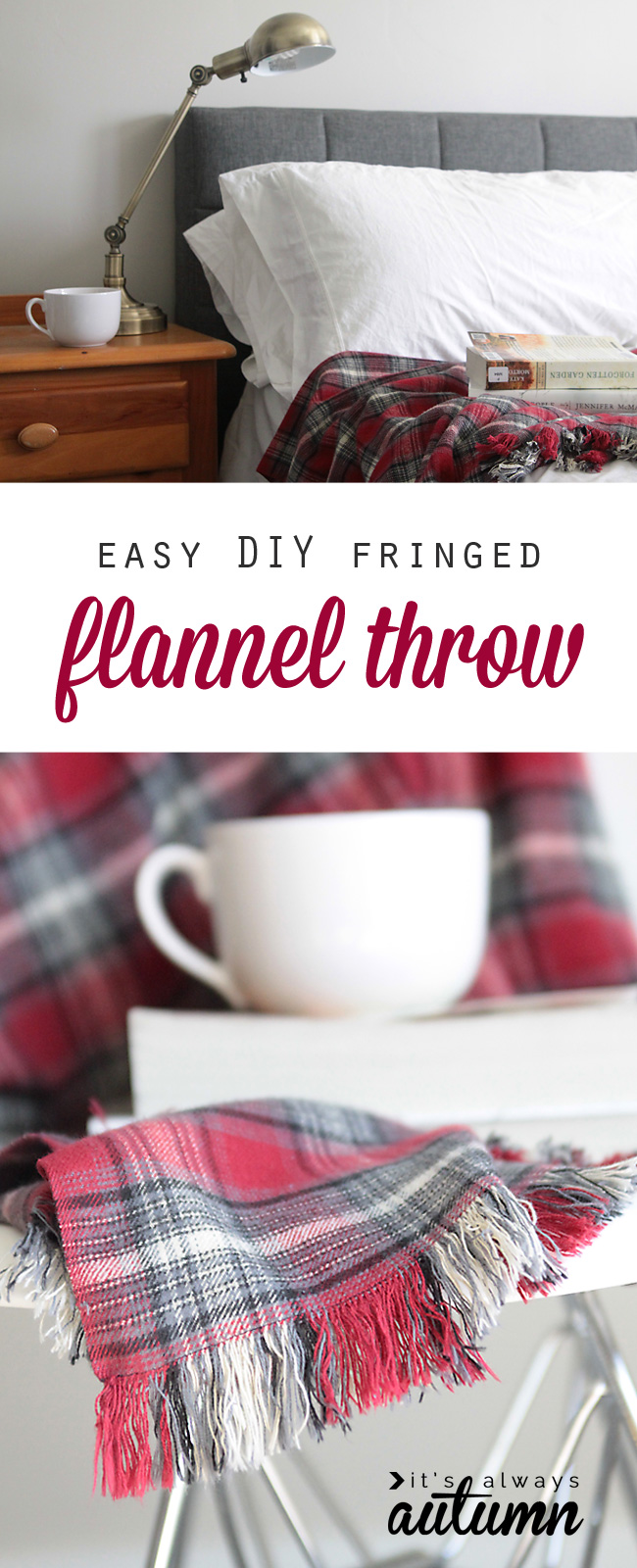 how to fringe flannel throw