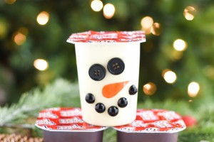 Christmas Pudding Treats for Kids - decorate pudding cups into santa, reindeer, and snowman treats!