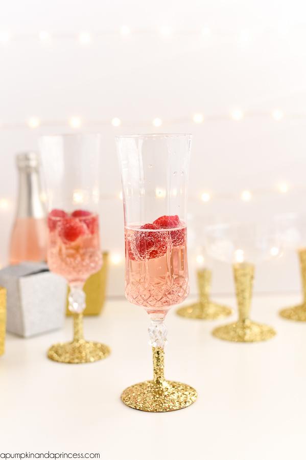 DIY Glitter Champagne Glasses