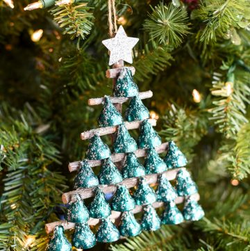Kisses Christmas Tree - how to make a Christmas tree with Hershey's KISSES and tree branches.