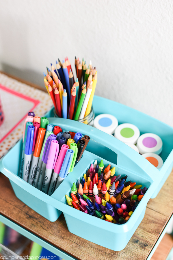 Organization tips for kid's art supplies