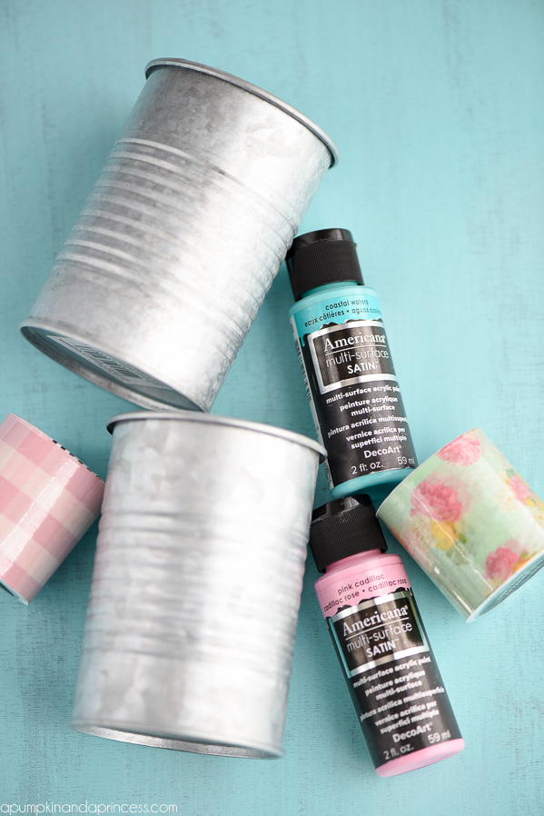 DIY Tin Can Organizers - keep supplies organized with these beautiful painted tin cans.