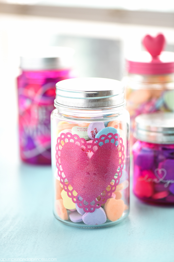 DIY Vinyl Heart Mason Jar