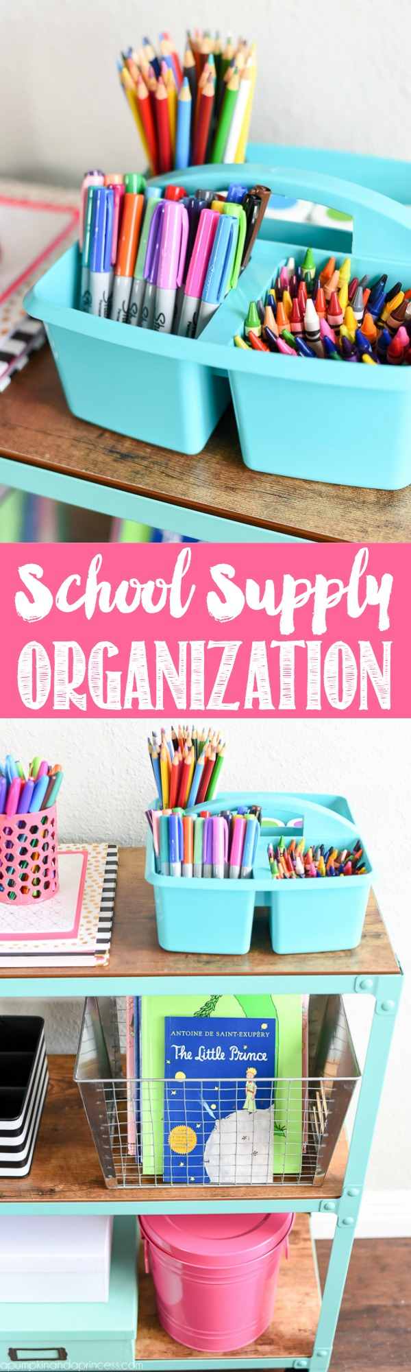 School Supply Organization Cart - easy organization ideas for art and school supplies