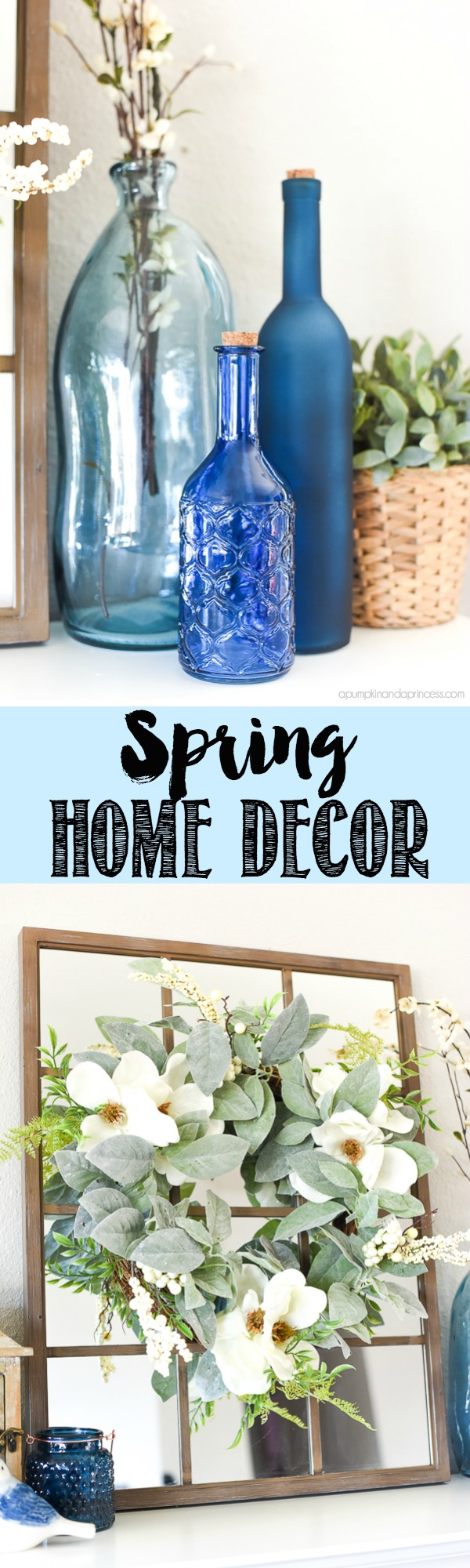 Spring Home Decor - update your home with neutrals and shades of blue vases for Spring!