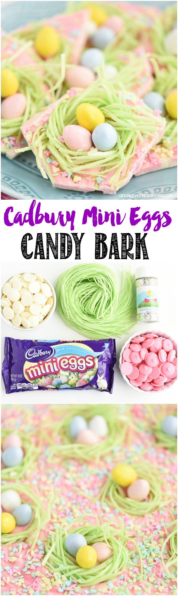 Cadbury Mini Eggs Candy Bark Recipe - pink and white chocolate marble candy bark topped with candy grass nests, Cadbury mini eggs and sprinkles.