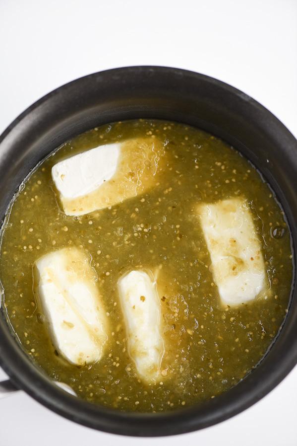 Salsa Verde Queso Dip - easy 3-ingredient salsa verde queso dip.