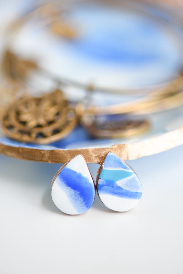 DIY Marbled Clay Earrings