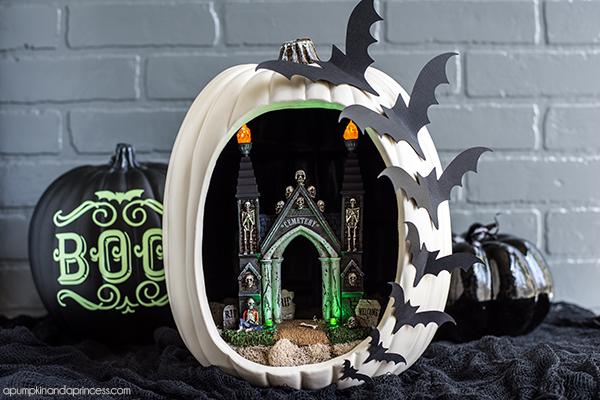DIY Pumpkin Diorama - create a spooky graveyard entrance pumpkin diorama with flying bats.