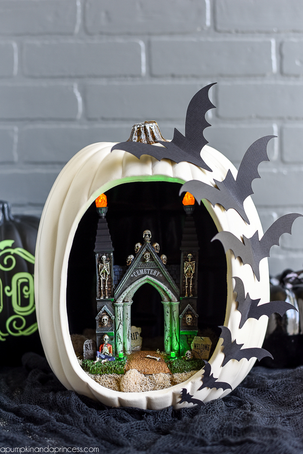 DIY Pumpkin Diorama - create a spooky graveyard entrance pumpkin diorama with flying bats.