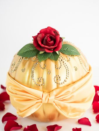 DIY Beauty and the Beast Belle Pumpkin – how to make a Disney princess Belle Pumpkin inspired by her beautiful dress and The Enchanted Rose.
