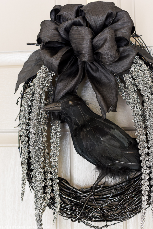 DIY Spooky Glam Halloween Wreath With Glittery Stems Draping Down And A  Black Crow To Welcome