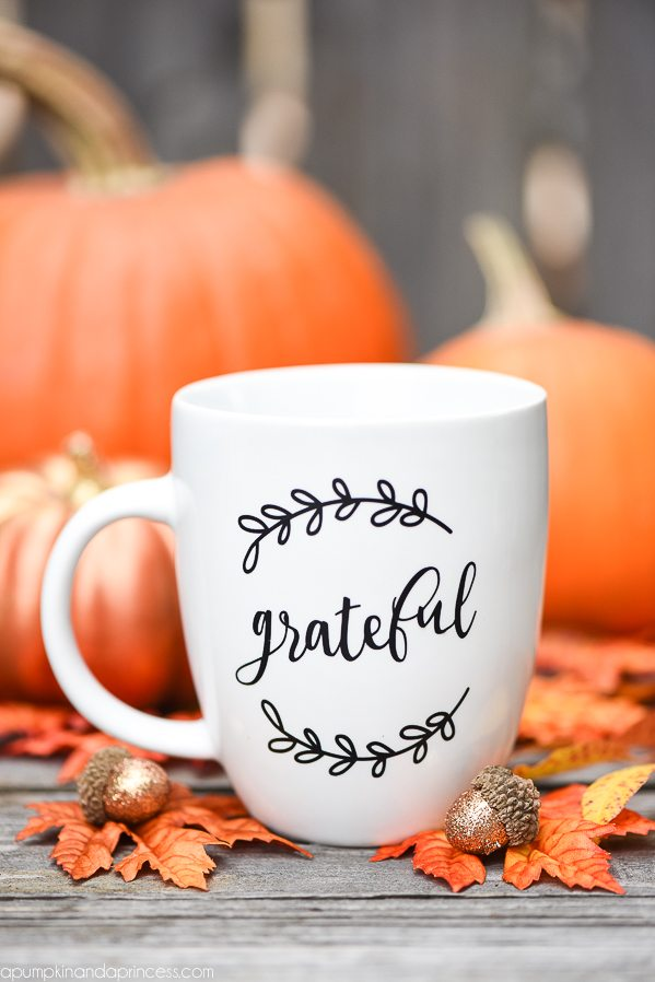 Hand lettered grateful coffee mug gift idea