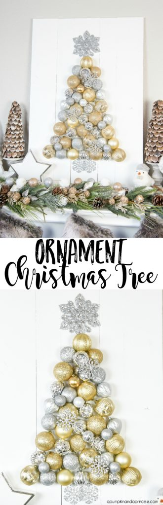 DIY Ornament Tree Display – how to make an ornament Christmas tree.