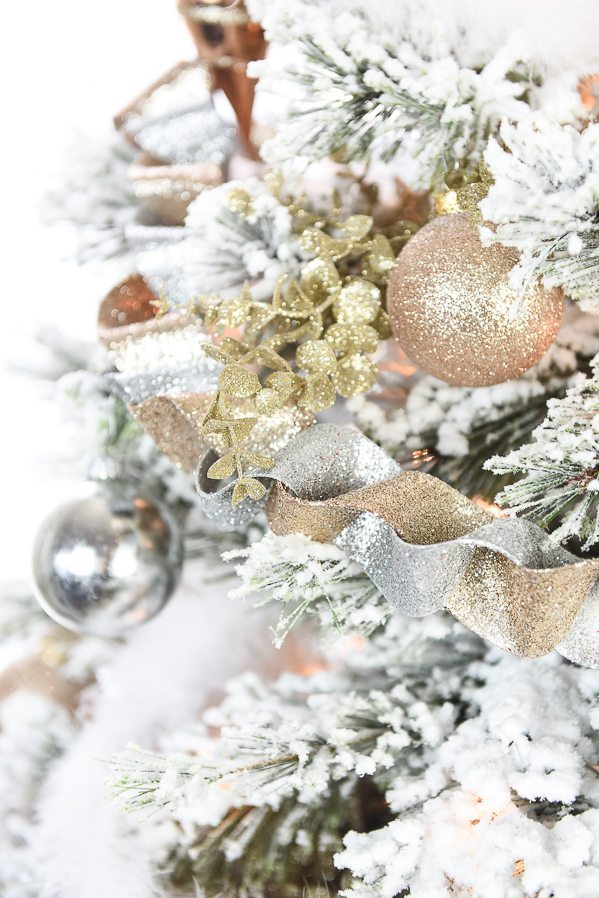 How to decorate a flocked Gold and Silver Winter Wonderland Christmas Tree – Michaels Dream Tree Challenge.