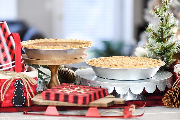 Buffalo Check Christmas Party – pie bar and apple pie milkshake recipe.