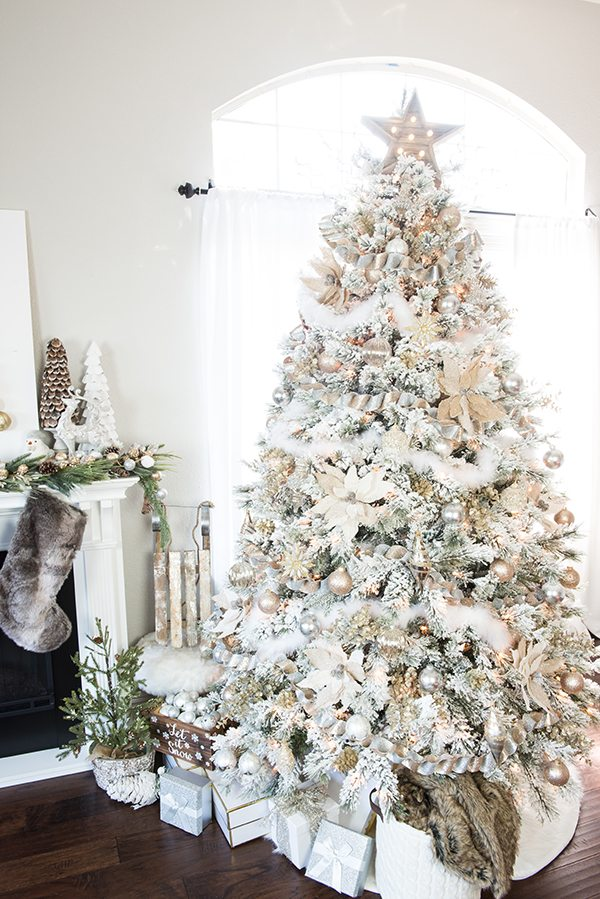 how to decorate a flocked gold and silver winter wonderland christmas tree michaels dream tree - Christmas Tree Michaels