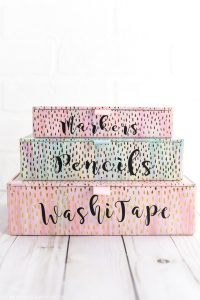 DIY Desk Organizers – keep your office and school supplies organized with vinyl labeled gold foil boxes
