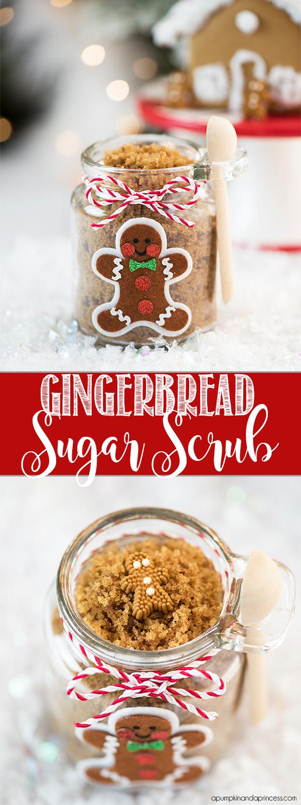 DIY Gingerbread Sugar Scrub – this easy gingerbread sugar scrub smells amazing and makes a lovely handmade gift idea!